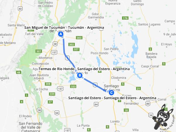 Trajeto de San Miguel de Tucumán - Tucumán - Argentina a Santiago del Estero - Santiago del Estero - Argentina | FredLee Na Estrada