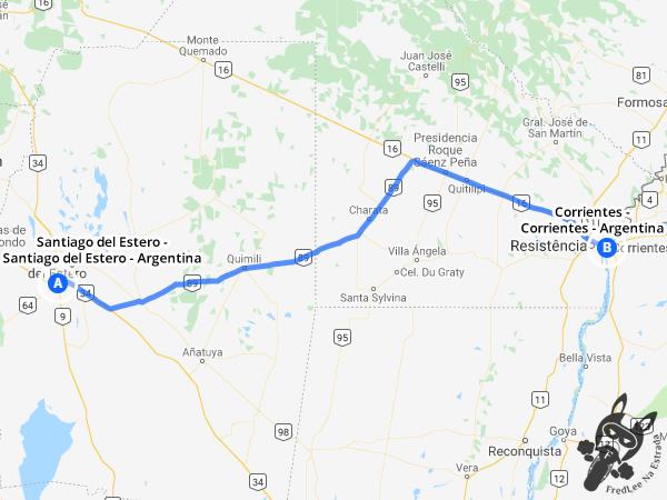 Trajeto de Santiago del Estero - Santiago del Estero - Argentina a Corrientes - Corrientes - Argentina | FredLee Na Estrada