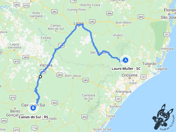 Trajeto entre Lauro Muller - Santa Catarina - Brasil e Caxias do Sul - Rio Grande do Sul - Brasil | FredLee Na Estrada