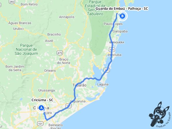 Trajeto entre Criciúma - Santa Catarina - Brasil e Guarda do Embaú - Palhoça - Santa Catarina - Brasil | FredLee Na Estrada