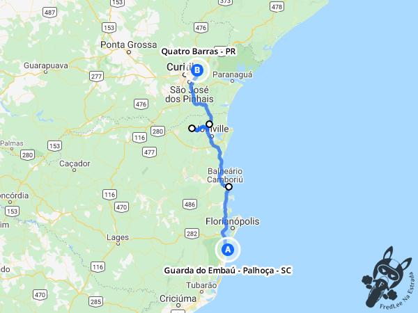 Trajeto entre Guarda do Embaú - Palhoça - Santa Catarina e Quatro Barras - Paraná - Brasil | FredLee Na Estrada