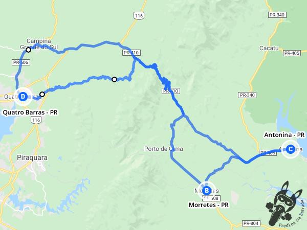 Trajeto entre Quatro Barras - Paraná - Brasil e Antonina via Morretes - Paraná - Brasil | FredLee Na Estrada