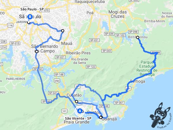 Trajeto entre São Vicente - São Paulo - Brasil e São Paulo - São Paulo - Brasil | FredLee Na Estrada
