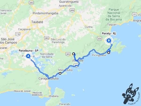 Trajeto entre Paraibuna - São Paulo - Brasil e Paraty - Rio de Janeiro - Brasil | FredLee Na Estrada