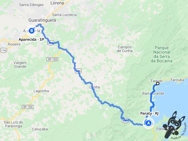 Trajeto entre Paraty - Rio de Janeiro e Aparecida - São Paulo - Brasil - Brasil   FredLee Na Estrada