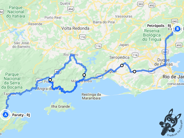 Trajeto entre Paraty - Rio de Janeiro - Brasil e Petrópolis - Rio de Janeiro - Brasil| FredLee Na Estrada