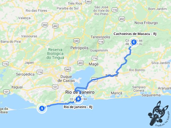 Trajeto entre Rio de Janeiro - Rio de Janeiro - Brasil e Cachoeiras de Macacu - Rio de Janeiro - Brasil    FredLee Na Estrada