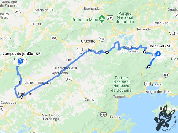 Trajeto entre Bananal - São Paulo - Brasil e Campos de Jordão - São Paulo - Brasil | FredLee Na Estrada
