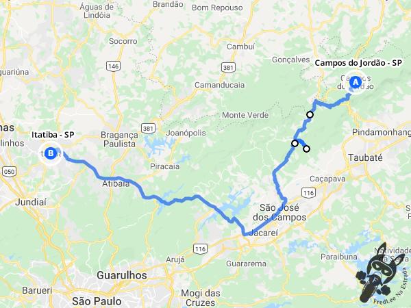 Trajeto entre Campos de Jordão - São Paulo - Brasil e Itatiba - São Paulo - Brasil | FredLee Na Estrada