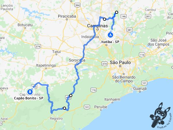 Trajeto entre Itatiba - São Paulo - Brasil e Capão Bonito - São Paulo - Brasil | FredLee Na Estrada