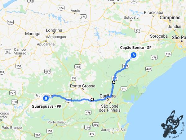 Trajeto entre Capão Bonito - São Paulo - Brasil e Guarapuava - Paraná - Brasil | FredLee Na Estrada