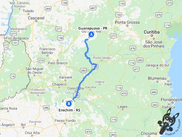 Trajeto entre Guarapuava - Paraná - Brasil e Erechim - Rio Grande do Sul - Brasil | FredLee Na Estrada