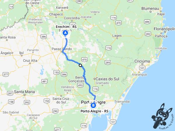 Trajeto entre Erechim - Rio Grande do Sul - Brasil e Porto Alegre - Rio Grande do Sul - Brasil | FredLee Na Estrada