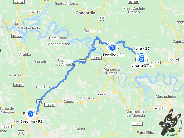 Trajeto entre Erechim - Rio Grande do Sul - Brasil e Piratuba - Santa Catarina - Brasil | FredLee Na Estrada