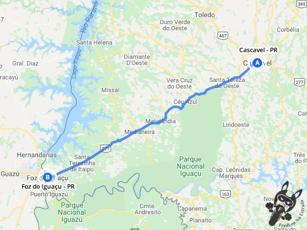 Trajeto entre Cascavel - Paraná - Brasil e Foz do Iguaçu - Paraná - Brasil   FredLee Na Estrada