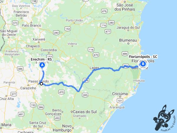 Trajeto entre Erechim - Rio Grande do Sul - Brasil e Florianópolis - Santa Catarina - Brasil | FredLee Na Estrada