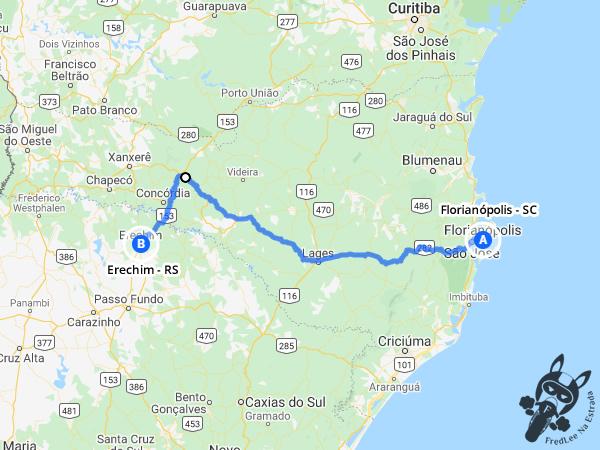 Trajeto entre Florianópolis - Santa Catarina - Brasil e  Erechim - Rio Grande do Sul - Brasil   FredLee Na Estrada